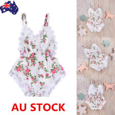 Newborn Baby Girls Summer Lace Floral Bodysuit Romper Jumpsuit Outfits Clothes