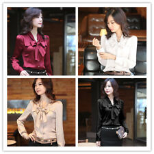 Women's Tie-bow Neck Long Sleeve Button Down Solid Elegant OL Shirt Top Blouse