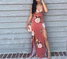 Women Halter Floral Print Deep V Neck Sleeveless  Backless Tunic Slit Maxi Dress