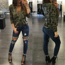 Women's Camouflage Print Halter Crew Neck Lace Up Long Sleeve Loose Tops Blouses