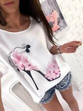Women's Casual Shoes Print Loose Round Neck Short Batwing Sleeve Shirt Top Tee