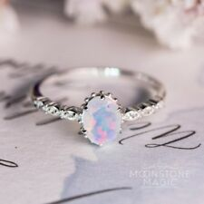Vintage Women Jewelry 925 Silver White Fire Opal Wedding Engagement Ring Sz6-10