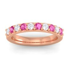 Pink Sapphire FG SI Round Diamonds Classic Half Eternity Band 10K Solid Gold
