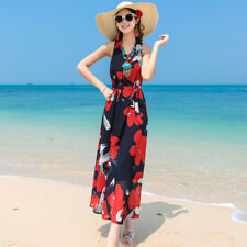 Women Floral Print Tunic Tie Waist Tank Sleeveless Loose Beach Midi Dress