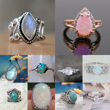 Gemstone Moon Stone Fire Opal 925 Silver Ring Wedding Proposal Party Ring Sz6-10