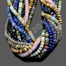 """4x6mm & 5x8mm Natural Gemstone Faceted Rondelle Spacer Loose Beads Strand 15.5"""""""