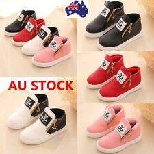 Baby Boys Girls PU Leather Ankle Boots Kids Flat Zipper Trainers Sneakers Shoes