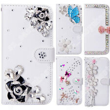 Fashion Jewelled Diamond Crystal Leather Flip Wallet Card Case Cover for iPhone