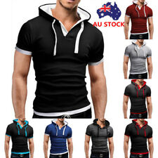 Men's Polo Shirt Summer Solid Short Sleeve Hooded Casual T-Shirt Slim Tops Tee