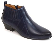 Mens Dress Casual Ankle Boots Plain Toe Zippered Navy Blue ANTONIO CERRELLI 5158