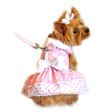Pink Polka Dot and Lace Designer Dog Harness Dress by Doggie Design  PRS# 10432