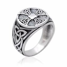 925 Sterling Silver Celtic Irish Knot Knights Templar Iron Cross Triquetra Ring