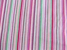 Shades of Pink Green White Black Stripe Cotton Fabric By Yard