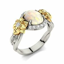14k Solid Gold Engagement Ring set with Opal and Diamonds, Flowers Ring