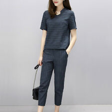 Women's 2Pcs Pinstripe Short Sleeve Mock Neck Shirt Top + Crop Pencil Pants Set