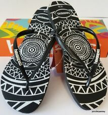 HAVAIANAS Genuine NEW Ladies Slim THONGS FLIP FLOPS MANDALA Black White Logo