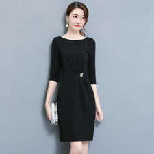 Women Scoop Neck Mid Sleeve Tunic Slim Fit Package Hip Solid Mini Casual Dress