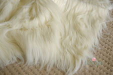 WHOLESALE lot Faux Fur Fabric, Cream Faux Fur, Long Pile Fur, 8 meter lot, New