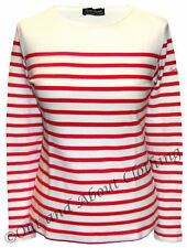 Captain Corsaire Ladies Long Sleeved Stripy Breton Top - White / Red