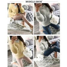 Women Casual Solid Long Sleeve Jumper Sweaters Blouse Tops O-Neck Soft Sweater