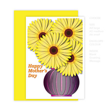 Mother's day card for Mom or Mum, yellow flowers in vase