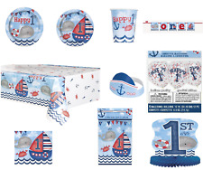 Nautical 1ST Birthday Baby Girl or Boy Party Tableware