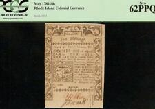 1786 RHODE ISLAND COLONIAL CURRENCY NOTE PAPER MONEY UNCIRCULATED PCGS 62 PPQ