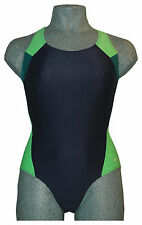 CHEX Ladies Cuba Navy Blue Green Swimmers Swimming Costume Strappy Back