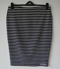 M&S Black & White Striped Pencil Skirt, Pull On Stretch Jersey, Size 16, 18 BNWT