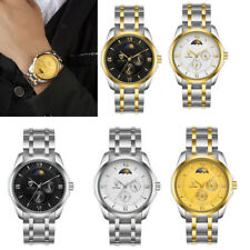 MagiDeal Automatic Mechanical Wristwatch Stainless Strap Moon Phase Waterproof