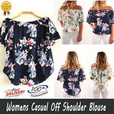 HOT Womens Casual Off Shoulder Blouse Top Short Sleeve Floral Loose Tops T Shirt