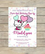 Hello Kitty Birthday Party Invitation, Custom Cute Hello Kitty Cupcake Invite