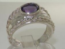 SOLID STERLING SILVER HALLMARKED QUALITY NATURAL AMETHYST SOLITAIRE BAND RING