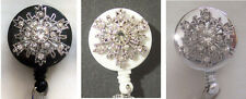 SNOWFLAKE Rhinestone BLING Retractable ID Card Holder Badge Reel Key Chain Ring