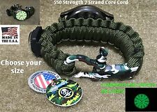 Military Green Survival Bracelet Compass Camouflage Adjustable Bow Shackle Watch