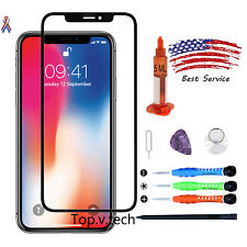 Black iPhone X Replacement Front Touch Screen Glass Lens Repair Tools Kits Glue