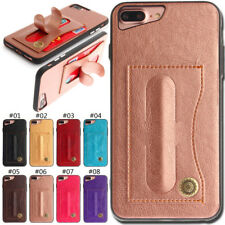 Rubber PU Leather Soft Case Skin Cover Card Silicone Stand Back For Apple iPhone