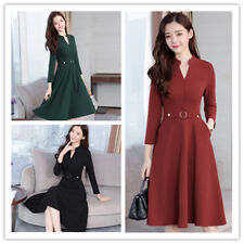 Women's Elegant Solid Slim Henley Neck Waist Decro Tunic Basic Swing Midi Dress