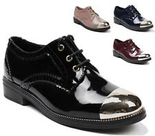 WOMENS FAUX PATENT LEATHER LACE UP FLAT BROGUE OXFORD LOAFERS SHOES SIZE 3-8