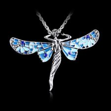 Vintage Silver Plated Beauty Dragonfly Crystal Pendant Necklace Long Chain Gift