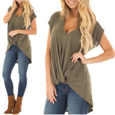 Women High Low Wrap Short Sleeve T Shirt Ladies Knitted Twisted Knot Loose Tops
