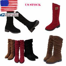 Womens Boots Low Block Heel Slouch Slip on Mid-Calf Boots Flat Winter Shoes Size