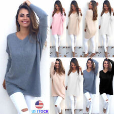 US Women's Long Sleeve Casual Pullover Sweater Shirt Knitting Blouse Jumper Tops