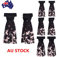 Women Summer Off Shoulder Short Sleeve Floral Dress Cocktail Party Beach Dress