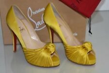$865 New CHRISTIAN LOUBOUTIN Lady Gres Satin Yellow Platform Heels SHOES 39