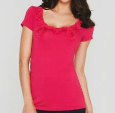 Ladies Valentine Red Berry Short Sleeve Scoop Neck T Shirt Top Womens NEW