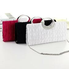 Ladies Satin Evening Clutch Bag With Rhinestones And Chain Shoulder Strap