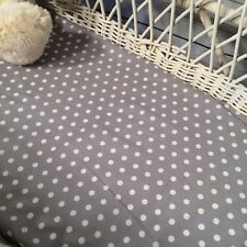 Bassinet Moses or Boori basket fitted sheets 100% cotton grey and white dots