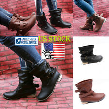 US Women's Causal Pull Up Slouchy Mid Calf Flat Boots PU Leather Shoes Size 5-9