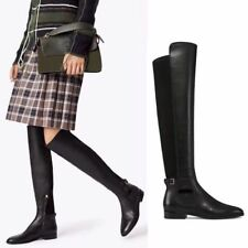 $578 New TORY BURCH Wyatt Stretch Leather Over The Knee Boot Black Boots 9